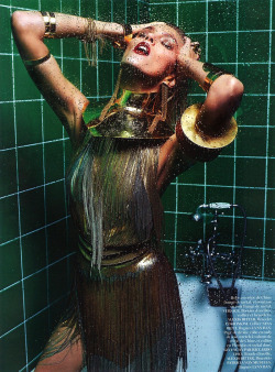 Anja Rubik in Versace, photographed by Mario Sorrenti for Vogue Paris March 2013.