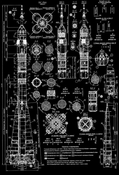 scanzen:  thekhooll:  Soyuz Blueprint of a Russian Soyuz rocket. Click here to view big..!  omg this is beautiful edit: this is BIG