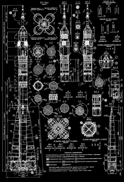 ha it looks like space scanzen:  thekhooll:  Soyuz Blueprint of a Russian Soyuz rocket. Click here to view big..!  omg this is beautiful edit: this is BIG
