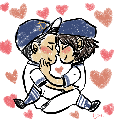 listentothistrackbitches:  quick kazujunta chibi drawing because meoto is canon that's why  HOW DID I MISS THAT YOU DREW THIS MY BABIES