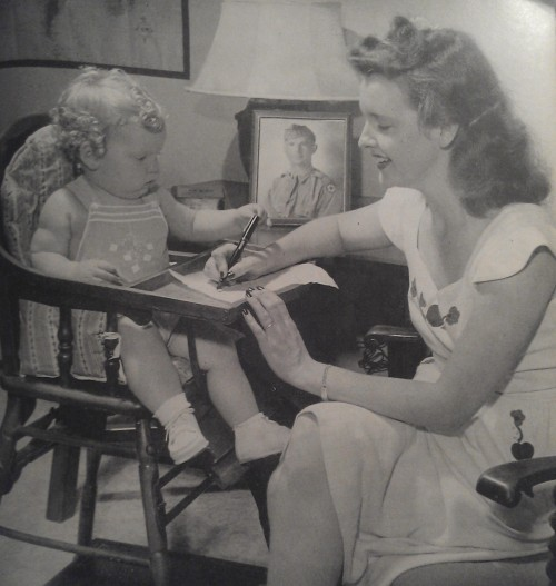 Mama and baby wait for their soldier's return in this 1944 advertisement.
