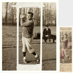 "Babe Ruth Golfing At St. Albans, Long Island ""Unworried!"" - AP Original Photo vs. Herald Examiner Clipping - January 18, 1932I thought it would be fun to show how an original press photo was edited back in the day for use in the papers. Who is that mysterious suited fellow in the background? He's probably the reporter and that case next to him most likely held the camera that's taking the photo we see here today."