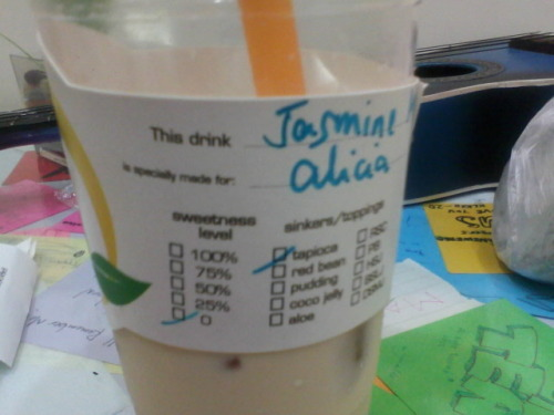 Nobody likes my milk tea preferences. :))It's usually 0% sugar with red beans. This Jasmine tea tasted like church.Because they use Jasmine in the prayer room.I don't like it in that way.I like how it's bitter.Everybody else hated it. Except for Melvin.He liked that tea.He even finished it and left nothing for me. HAH