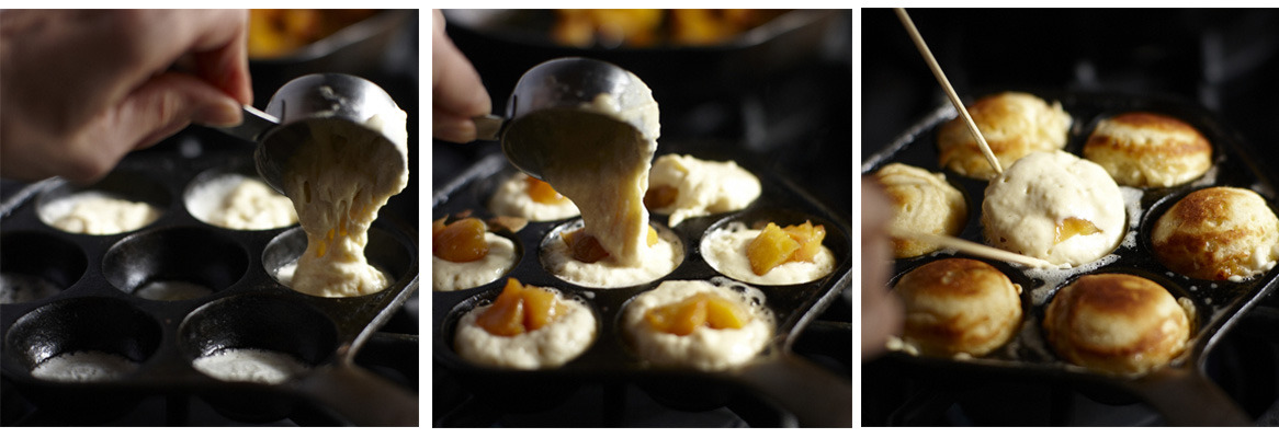 ... ebelskivers. We like peach preserves, but you can also include jam