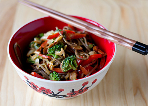 sweetygoodness:  Soba Noodle Stir-Fry with Spicy Almond Butter Sauce Ingredients: 8 ounces buckwheat soba noodles 1 red bell pepper, seeded and thinly sliced 1 cup shredded cabbage 1 cup broccoli florets 2 garlic cloves, minced 4 teaspoons minced fresh ginger 4 scallions, sliced thinly ½ cup almond slivers Extra-virgin olive oil Crushed red pepper flakes (optional) Sauce: 3 tablespoons almond butter 3 tablespoons water 3 tablespoons unseasoned rice vinegar 2 tablespoons soy sauce Directions: Bring a large pot of water to a boil and add a pinch of salt and a splash of olive oil. Add the soba noodles and cook until just tender, about 10 minutes. Drain, rinse with water and set aside. In a large sauté pan or wok, heat a splash of olive oil over medium-high heat. Add the cabbage, red pepper and broccoli and sauté for 5 minutes. Add the garlic and ginger and continue to sauté for an additional 1 to 5 minutes, until desired crispness. Remove vegetables from heat, add the noodles, and toss with the scallions, slivered almonds and crushed red pepper flakes, to desired spiciness. To make the sauce, whisk together the almond butter and water until smooth. Then, whisk in the rice vinegar and soy sauce. Pour over the stir fry mixture, and toss to coat. Serve immediately.