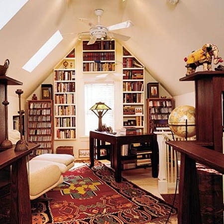 a library in the attic. fantastic!