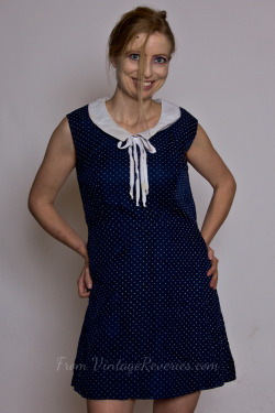 Self portrait in a vintage Blue and white polka dot dress
