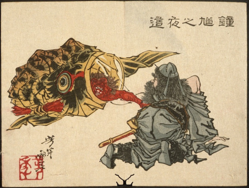 thethreejewels:  Tsukioka Yoshitoshi - Shōki Creeping Up on a Sleeping Demon  From The Public Domain Review.