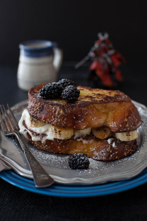 crumbsx:  Challah French Toast with Bruleed Bananas, Nutella and Whipped Cream.