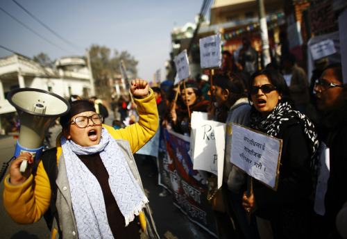 Photo of the Day: Nepalese women take part in a protest against what they say is an increase in violence against women, outside the Prime Minister's official residence in Kathmandu. The women demand the government to implement stronger laws and take firm action against violence on women, after a series of rapes and assaults were reported over the past couple of weeks from all over Nepal. (Photo: REUTERS/Navesh Chitrakar)