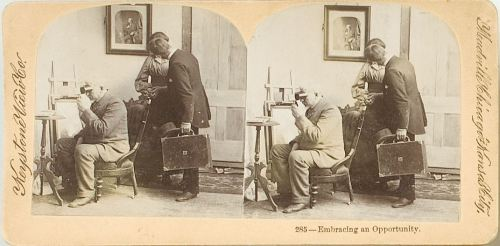 "ca. 1880-1900, ""Embracing an Opportunity"", [stereograph of a salesman kissing a woman as her husband looks into stereoscope], Keystone View Co.  via Cowan's Auctions"