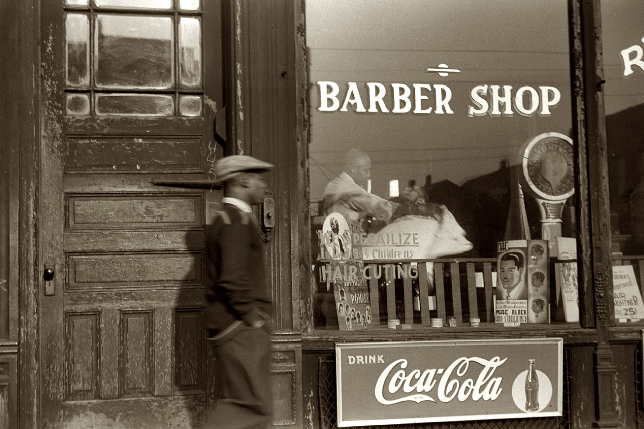 South Side barber shop. Chicago, 1941. By Edwin Rosskam