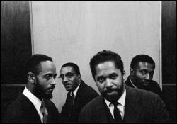 bainer:  The Modern Jazz Quartet [left to right: Percy Heath, Milt Jackson, John Lewis, and Connie Kay] in New York City 1958 (photo by Dennis Stock) Listen to The Modern Jazz Quartet.