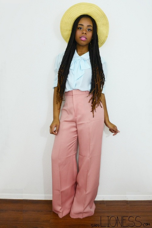 blackfashion:  Jacque // 22 // KS by way of Nigeria vintage wide leg trousers via LIONESS vintage