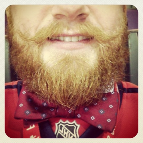 Rocking the red bowtie AND the red beard today. Go Caps! #capsrangers #capitalstalk #nhlplayoffs  (at Verizon Center)