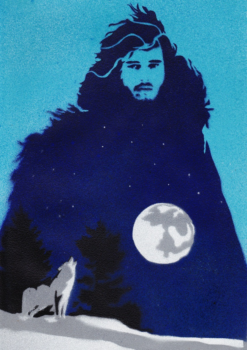 Jon Snow, the Warg of Winterfell by ~Ali-Radicali Done with stencil and spraypaint. Wowza.
