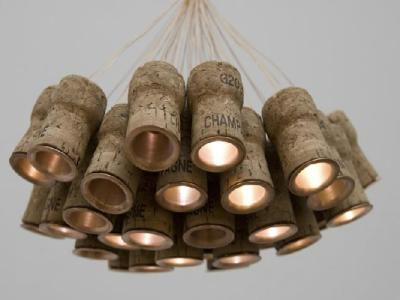 Popped any corks lately? Check out this lamp: British artist/designer Alkesh Parmar made it from Champagne corks.  Want to see more adult beverage-related repurposing? We've featured a bunch of it in our wine o'clock series here. [Thanks for the tip, Estelle H.!]