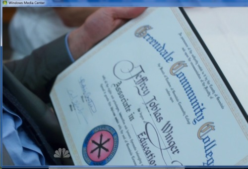 Wait, this makes no sense - Jeff was at Greendale to replace his fake Bachelor's degree.  Why is he getting an Associate degree?!  Also, it took him 3.5 years to get an Associate degree?  Took too many blow-off classes, did he?