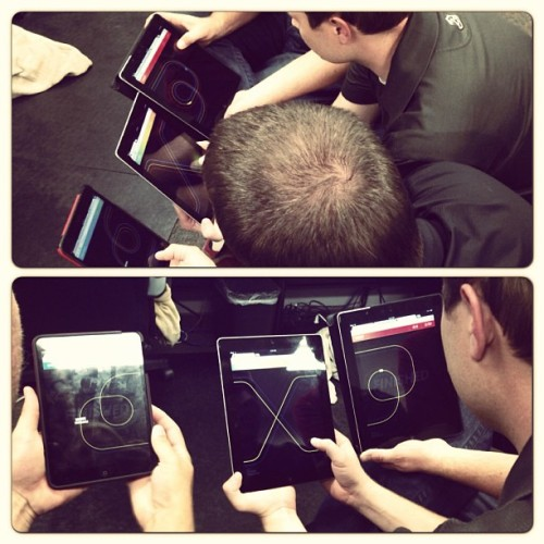 Racing across 3 iPads on the new chrome.com/racer game.  (at ZAGG)
