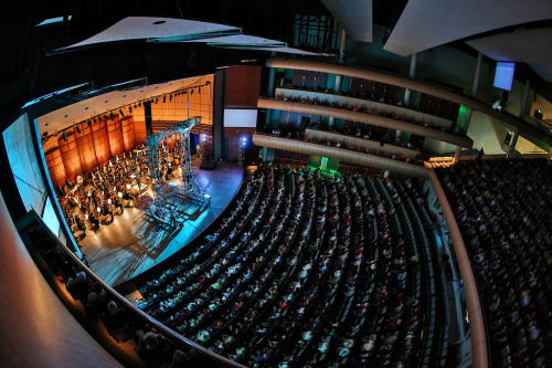 Title: Top-Notch.Fisheye view of Cirque Mechanics at the Grand Rapids Symphony. I just love this perspective of the stage and the fisheye really brings not only the stage, but the audience into the big picture… had to share.Image shot with a Canon EOS 5D Mark III and EF 15mm f/2.8 Fisheye lens.