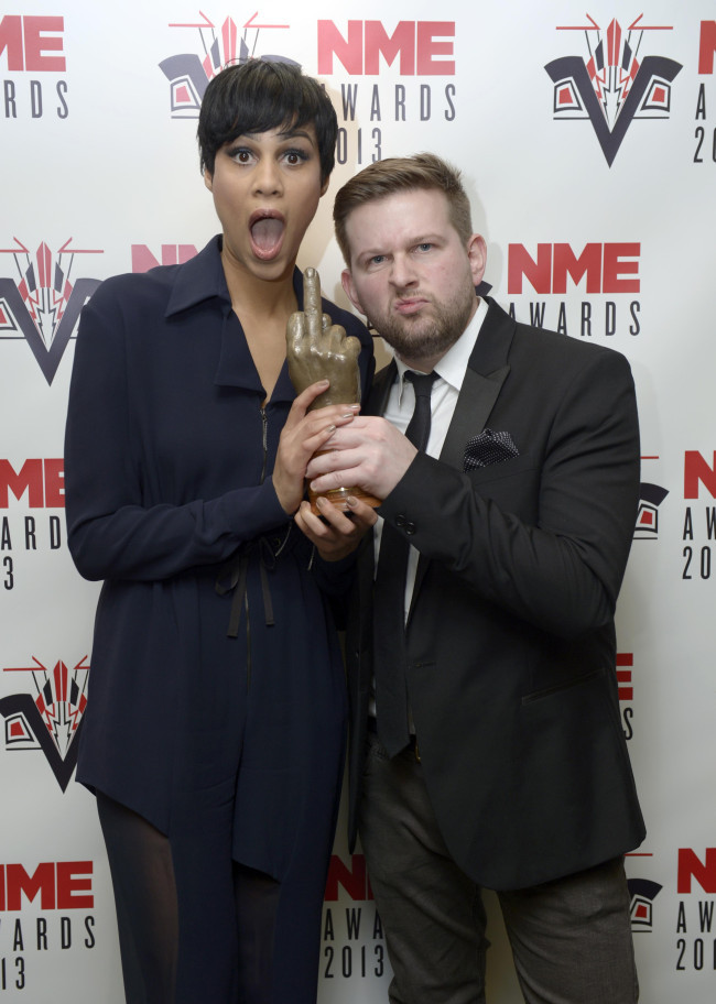 Zawe and Greg with Fresh Meat's award for Best TV Show at the 2013 NME Awards