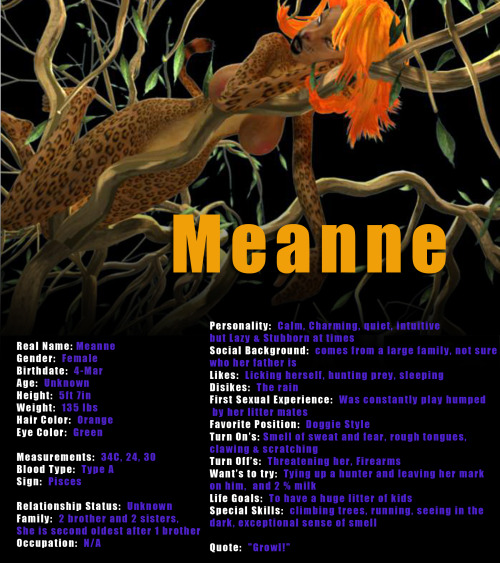Here is Meanne's Bio.  Sorry the picture is not the best quality, we need to do some new renders of her.   You can see more of her at www.3dgspot.com and other bios at our forums found there