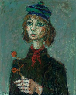 poboh:  Portrait avec rose, Paul Aizpiri. French, born in Paris 1919.
