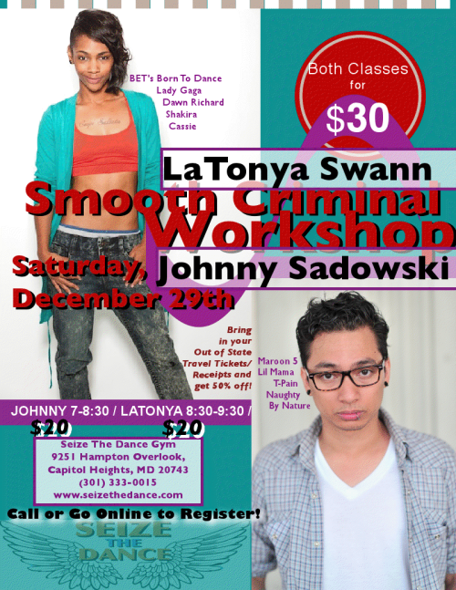 Going back to the DMV to teach my last workshop of the year! Latonya & I will be teaching, so come end the year right and get your groove on!