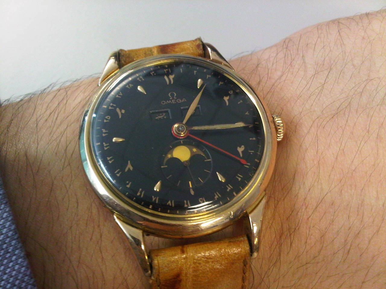 omegaforums:  Stunning Vintage Omega Triple Date Moonphase w/ Black Farsi Dial 18K Gold #Omega #Vintage #watches #Menswear