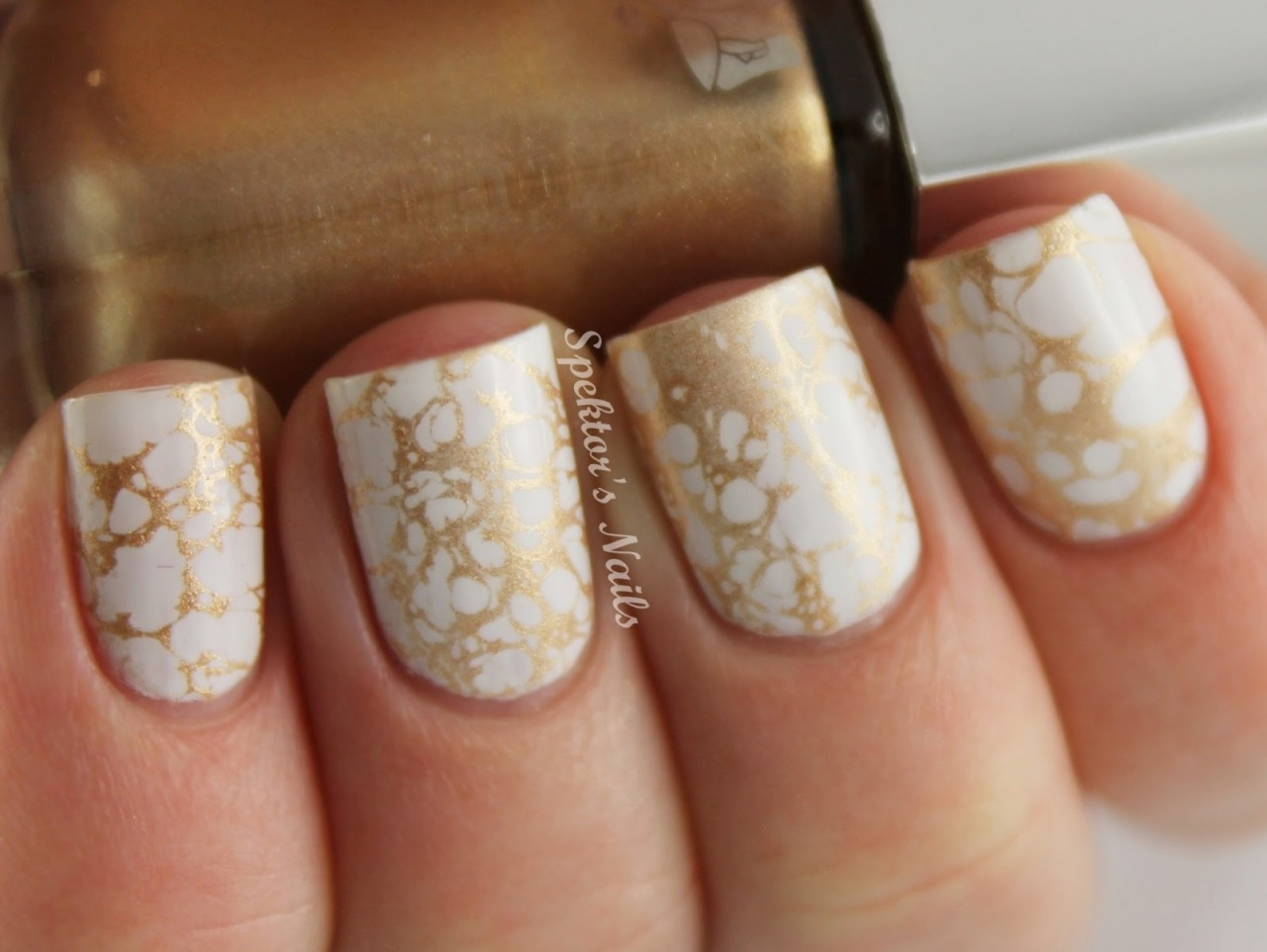 spektorsnails:  White Golden Water Spotted Nails
