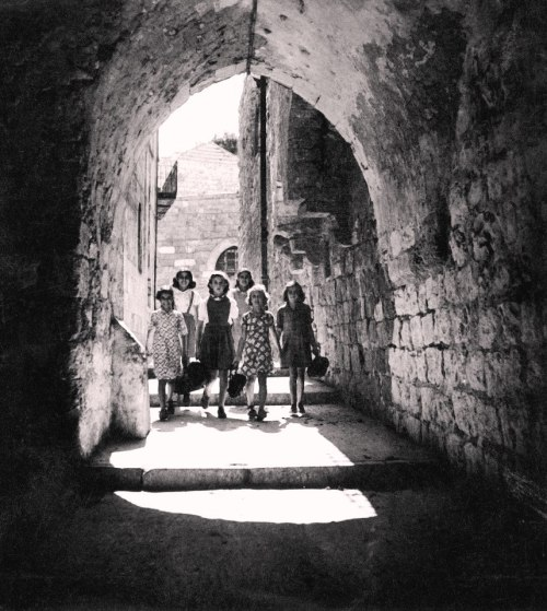 Students from the city of Safed after school, 1944 .( Ahmed Marawat Archive)
