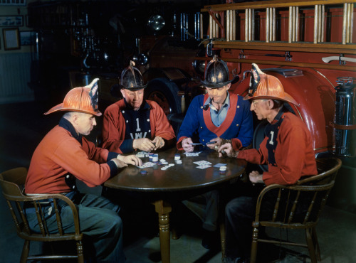 natgeofound:  Carson City firemen play cards while awaiting a call, January 1946.Photograph by W. Robert Moore, National Geographic
