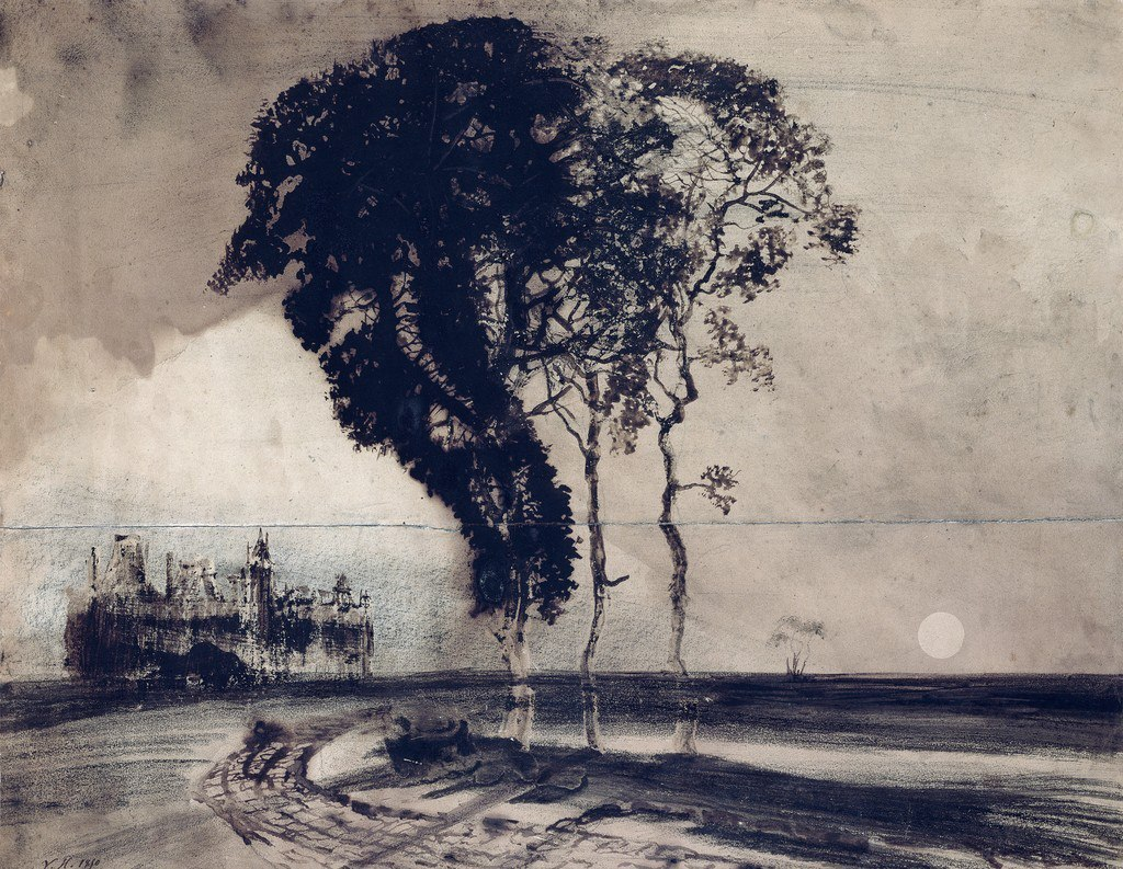 Victor Hugo - Landscape with Three Trees. 1850
