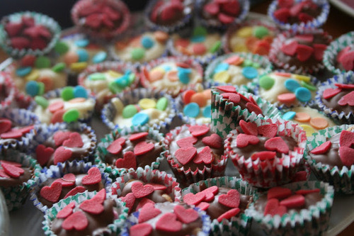 Tiny Cupcakes with Heart and Colorful Sprinkles