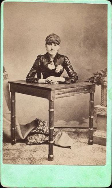 "ca. 1860-90's, [carte de visite collage portrait of ""half a woman"" on a table] via Luminous Lint, from the private collection of Laddy Kite, LL/47896"