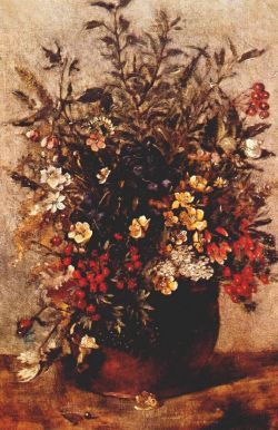 John Constable - Autumn Berrie and Flowers in Brown Pot