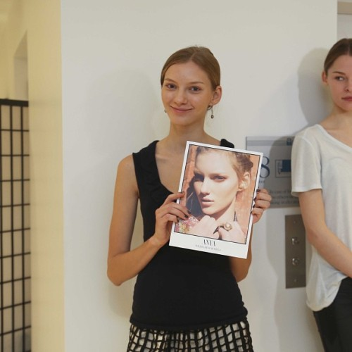 Super Cute #anyakazakova ready to enter into the Casting Director room at the @bcbgmaxazria pre-casting #NYFW