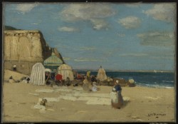 artgalleryofontario:  The Beach, St. Malo, c. 1900James Wilson Morrice Canadian, 1865 - 1924Oil on canvas38.5 x 55.5 cmBequest of David R. Morrice, Montreal, 1981© 2013 Art Gallery of Ontario