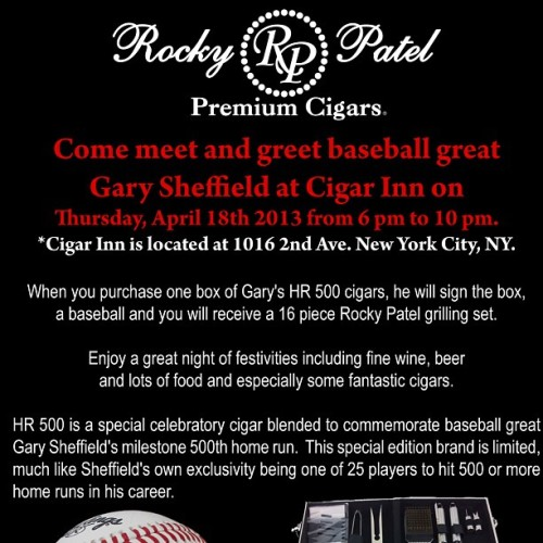 Cigar Inn Event : Come meet and greet baseball Great Gary Sheffield , Thursday April 18th From 6:00 pm till 10:00 pm. Free food , free Drinks and free Cigar . #cigar #cigars #cigarinn #cigarporn #cigarinnbotl #cigaroftheday #cigaraficionado #cigaraficionados #nyc #nycbest #nyccigarlounge #botl #botlnychapter #sotl #rockypatelcigars @rockypatelcigars #nycevent #aprilevent #april18  (at The Cigar Inn)