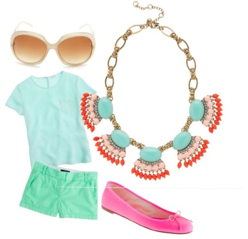 a colorful summer by aba2life featuring j.crew topsJ.Crew  top / J.Crew short shorts / J.Crew leather shoes / J.Crew fringe necklace / Charlotte Russe plastic sunglasses