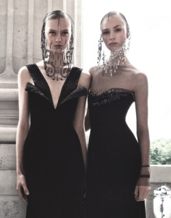 Nastya Kusakina and Hedvig Palm wear Armani Privé in 'Simply Elegant' photographed by Patrick Demarchelier for Vogue China Collections F/W 2013