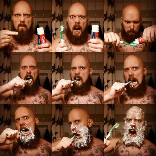 misfitasian:  THE MANLY WAY TO BRUSH YOUR TEETH