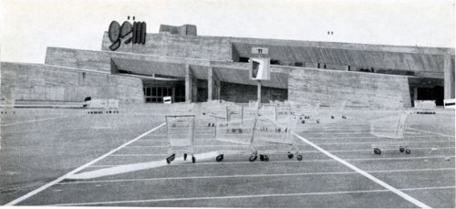modernismepompidolien:  The GEM Shopping mall designed by Claude Parent, built at Sens in 1970.