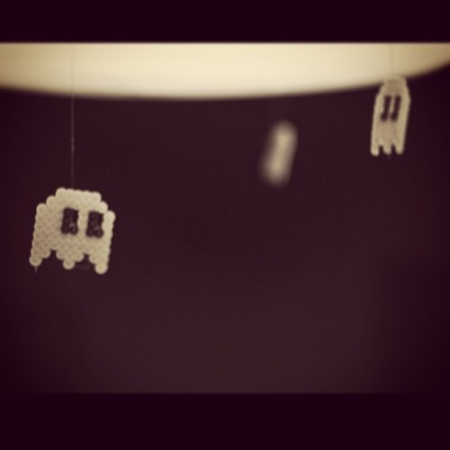 Glow in the dark! #pacman #ghost #nightlight #glow #hamabeads