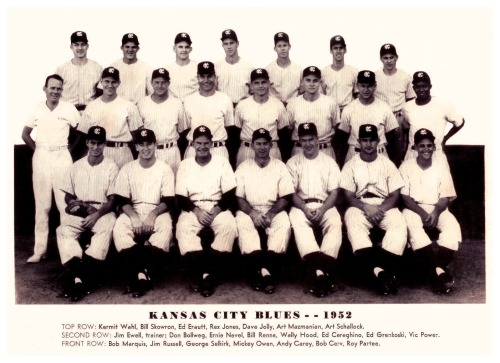 "1952 Kansas City Blues TeamLots of familiar names on this N.Y. Yankees farm club, including Bill ""Moose"" Skowron, Vic Power, Bob Cerv, Andy Carey, Mgr. George Selkirk and 36 yr. old former Brooklyn Dodgers catcher Mickey Owen."
