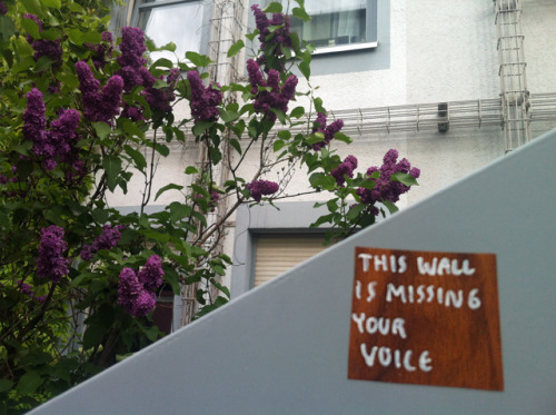 This wall is missing your voice,  Frankfurt am Main, Nordend, 2013