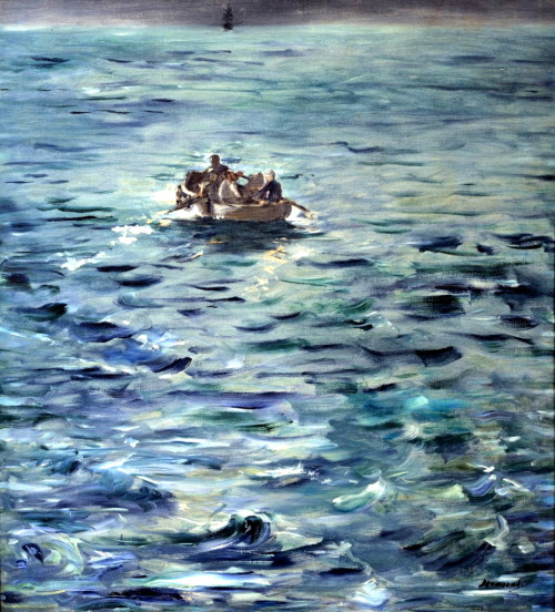 worldpaintings:  Edouard Manet Rochefort's Escape (L'Evasion de Rochefort), c. 1881, oil on canvas, 80 x 73 cm, Musée d'Orsay. Virulently opposed to the imperial regime, Victor Henri Rochefort founded a political newspaper, La Lanterne, in 1868. The newspaper, which was published in Brussels, was soon banned. In 1873 the journalist was sentenced to prison for his role during the Commune. His spectacular, swashbuckling escape by sea, in 1874, inspired Manet to paint this composition, six years after the event. This and many other Manet's masterpieces can be seen in the monumental rooms of the Doge's Palace, Venice, from April 24 to August 18, 2013. The exhibition Manet. Return to Venice includes about 80 paintings, drawings and prints. It has been planned with the special collaboration of the Musée D'Orsay in Paris, which possesses the largest number of Manet's masterpieces.