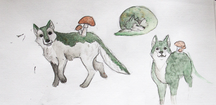 Doodling moss wolves, but uh they look like cute little shiba inus? I think I need to practice this a bit before I can make anything with them