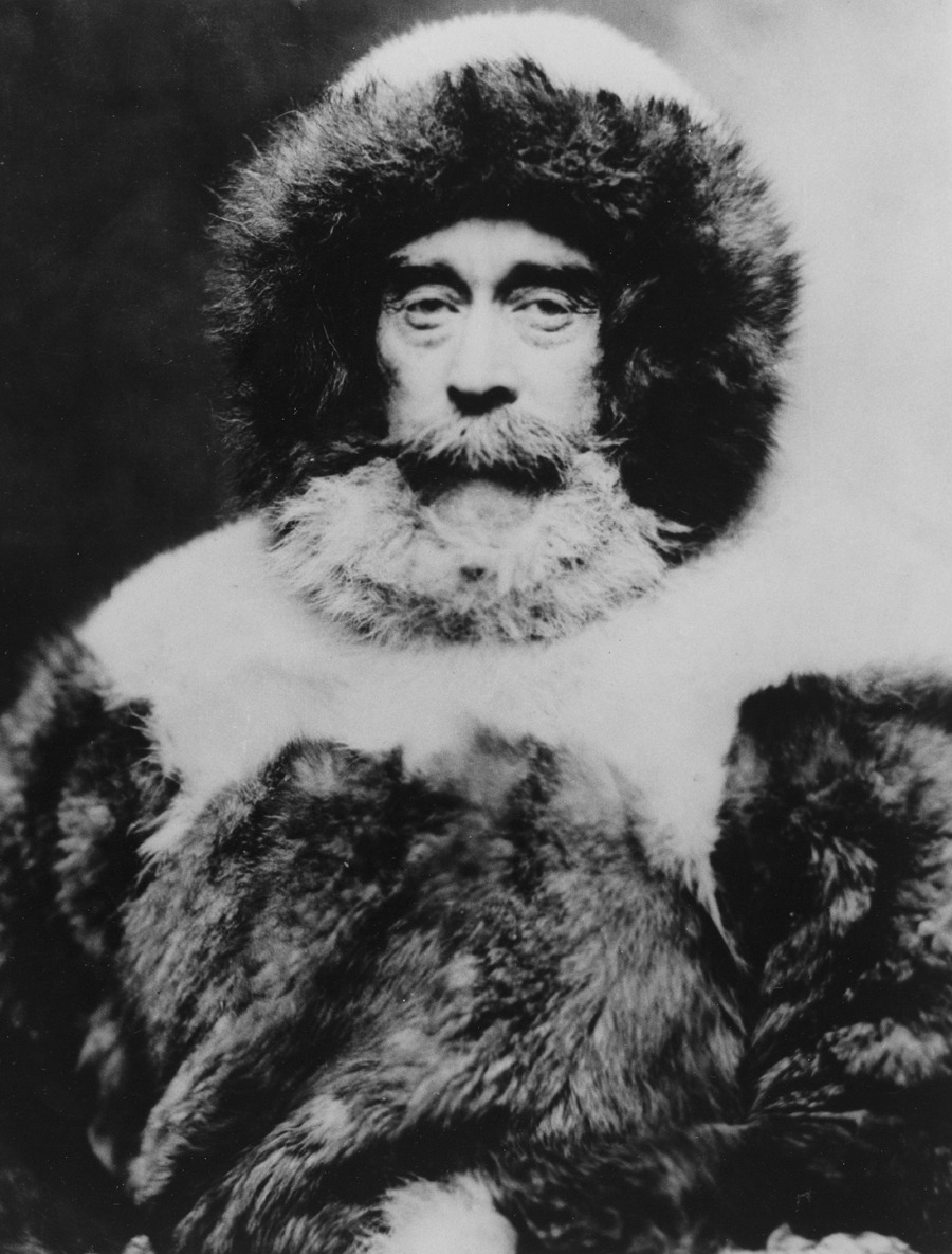 Rear Admiral Robert E. Peary dressed in the fur clothing he wore for the Arctic expedition, September 1938.Photograph by Robert E. Peary, National Geographic