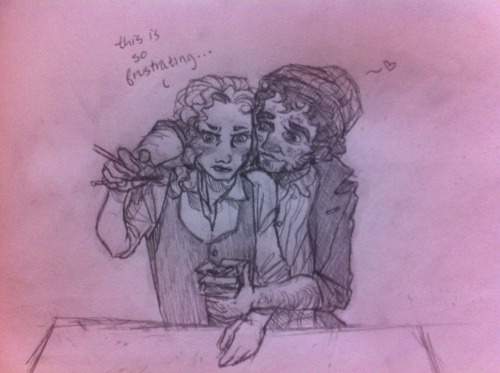 Grantaire tries to teach Enjolras to use chopsticks. Enj is not having it.